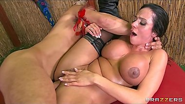 Big tit Latina has her thick tits oiled up and titty fucked
