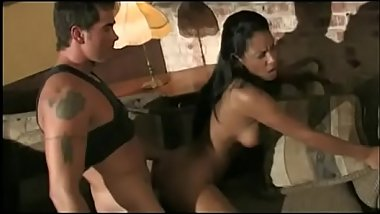 Latina brunette with amazing tits straddles hung studs hard cock