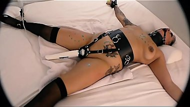 Strapped in Bondage to Bed, Ball Gagged and Hitachi Orgasm Belt Strapped On