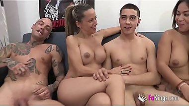 Helena Kramer and Candy enjoy an orgy with three younger guys