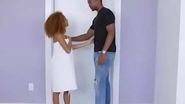 Ebony teen lets white robber have his way with her